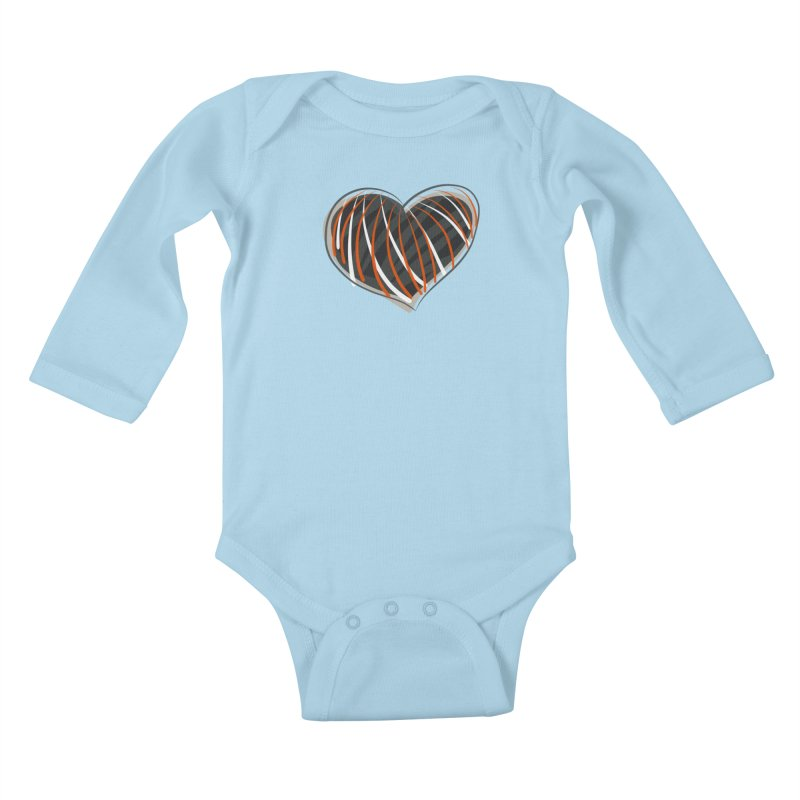 Striped Heart Kids Baby Longsleeve Bodysuit by Michael Pfleghaar