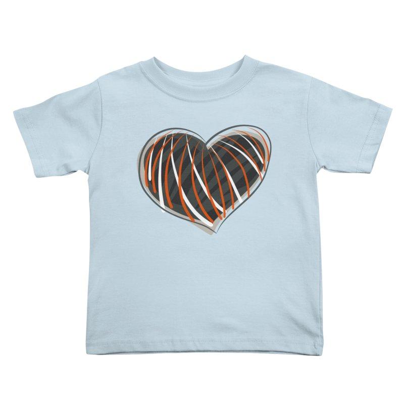 Striped Heart Kids Toddler T-Shirt by Michael Pfleghaar