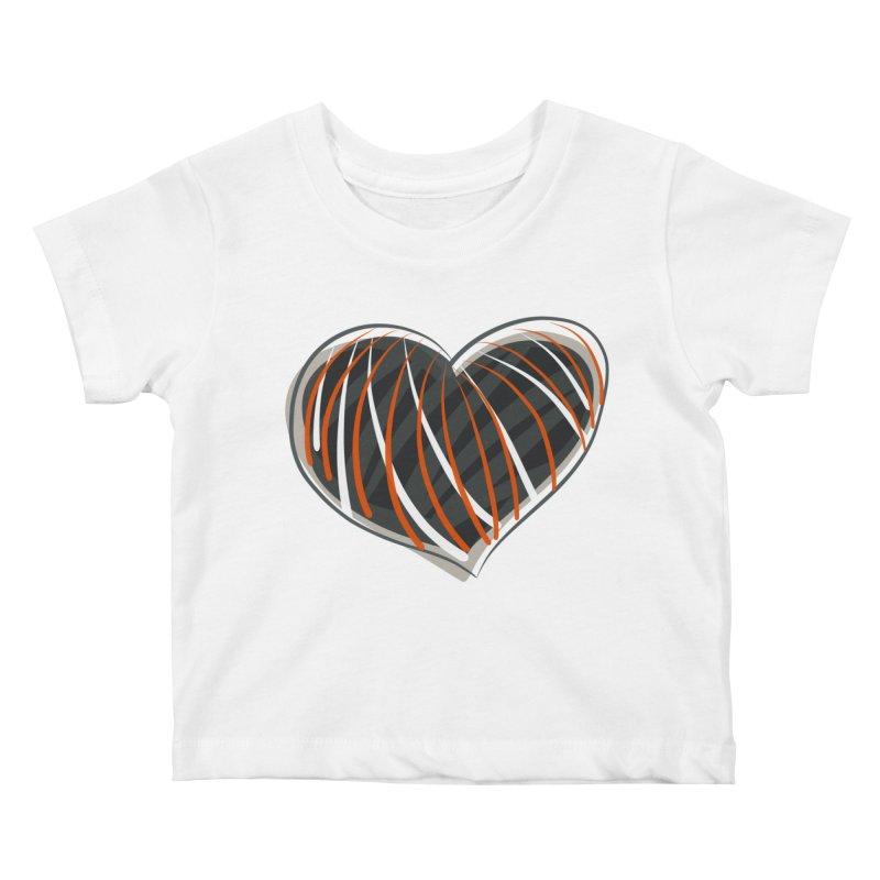 Striped Heart Kids Baby T-Shirt by Michael Pfleghaar