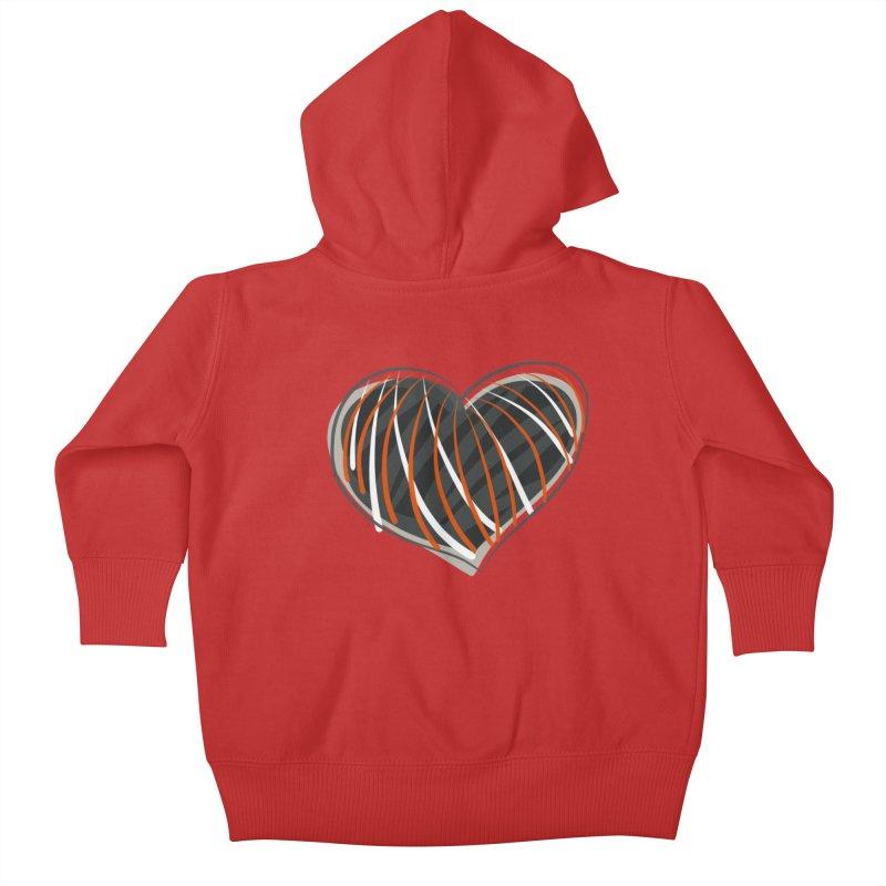 Striped Heart Kids Baby Zip-Up Hoody by Michael Pfleghaar