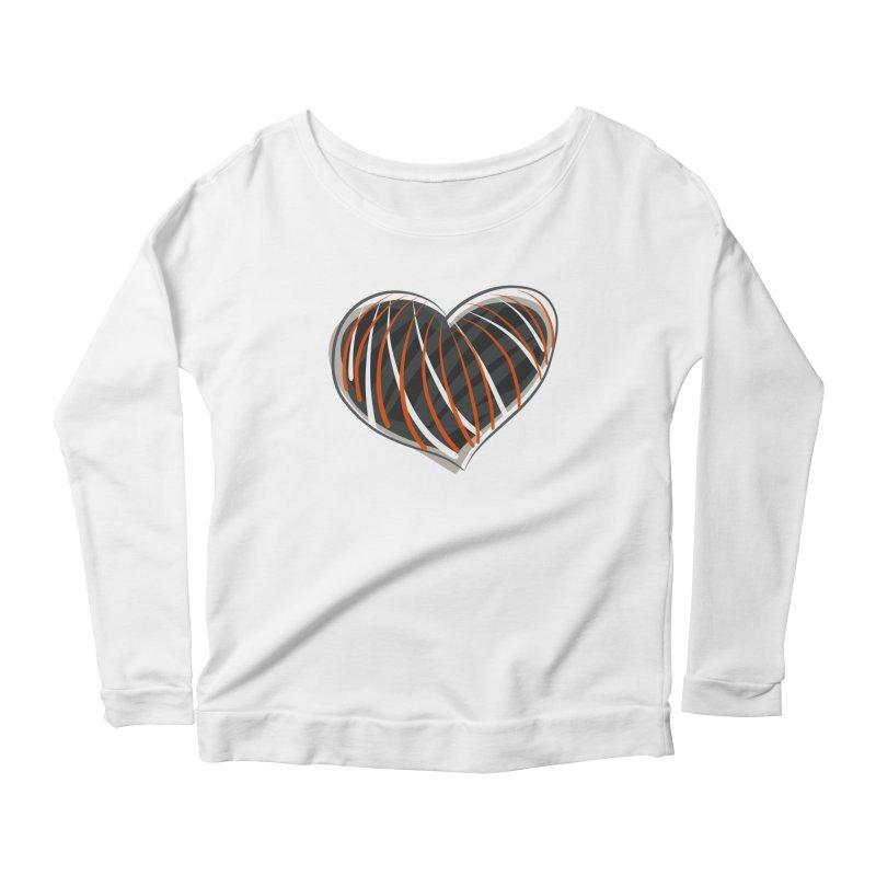 Striped Heart Women's Longsleeve Scoopneck  by Michael Pfleghaar