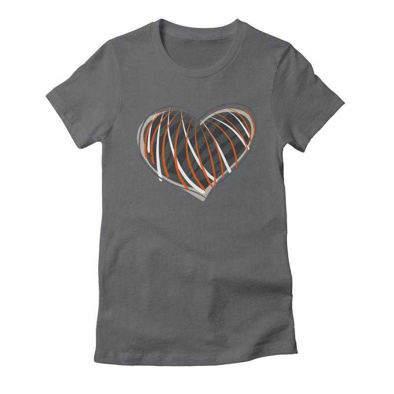 Striped Heart Women's Fitted T-Shirt by Michael Pfleghaar