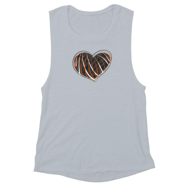 Striped Heart Women's Muscle Tank by Michael Pfleghaar