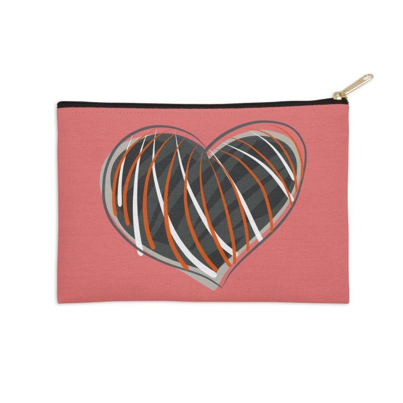 Striped Heart Accessories Zip Pouch by Michael Pfleghaar