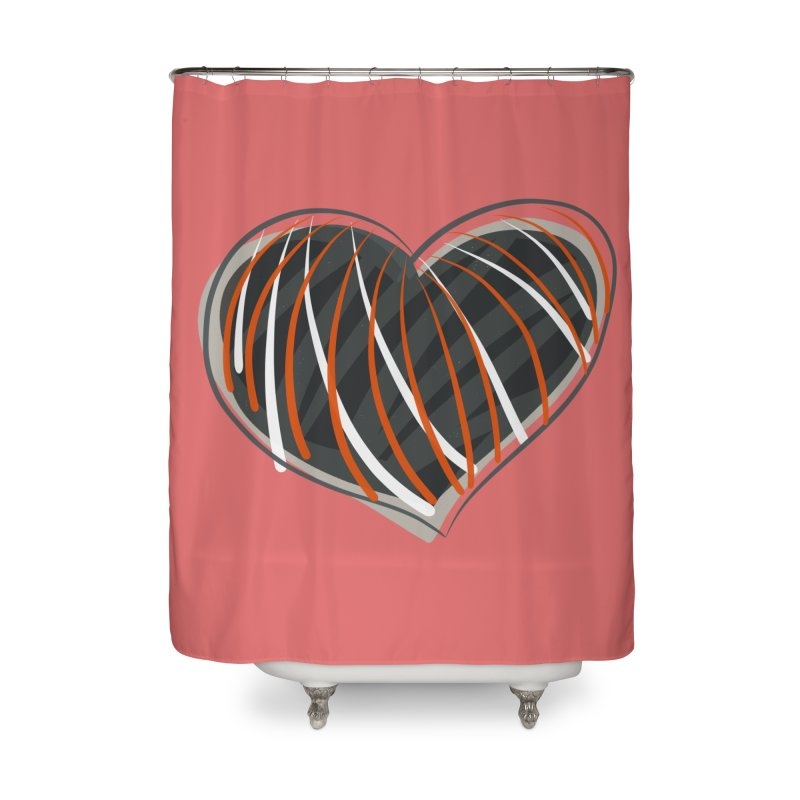 Striped Heart Home Shower Curtain by Michael Pfleghaar
