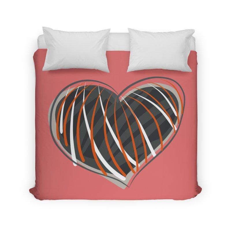 Striped Heart Home Duvet by Michael Pfleghaar
