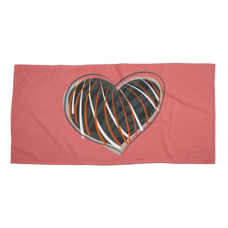 Striped Heart Accessories Beach Towel by Michael Pfleghaar