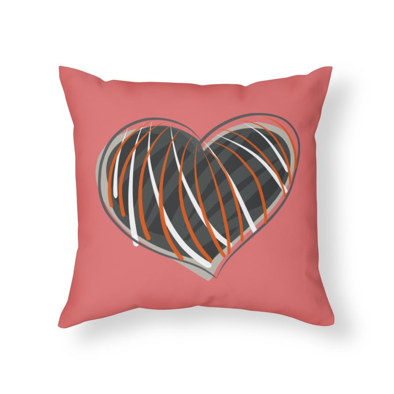 Striped Heart Home Throw Pillow by Michael Pfleghaar