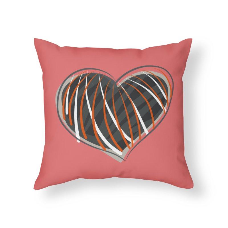 Striped Heart in Throw Pillow by Michael Pfleghaar