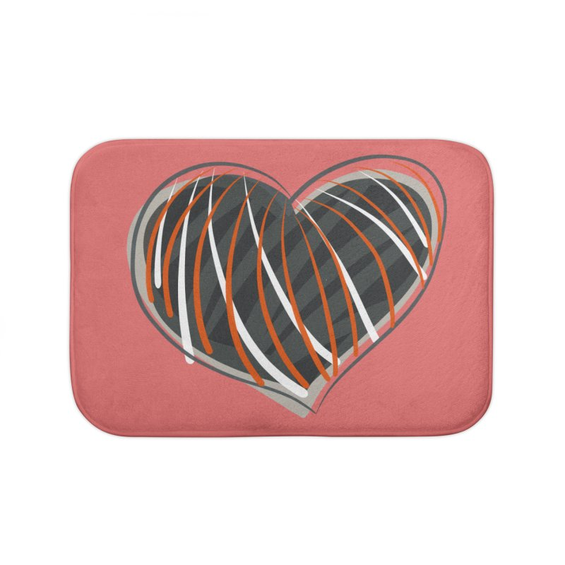 Striped Heart Home Bath Mat by Michael Pfleghaar