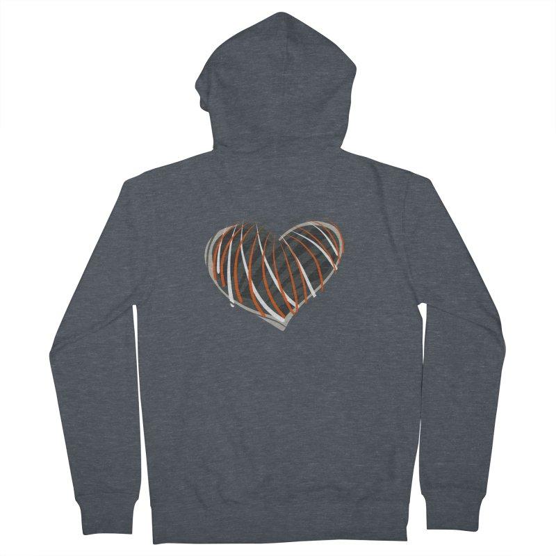 Striped Heart Women's French Terry Zip-Up Hoody by Michael Pfleghaar