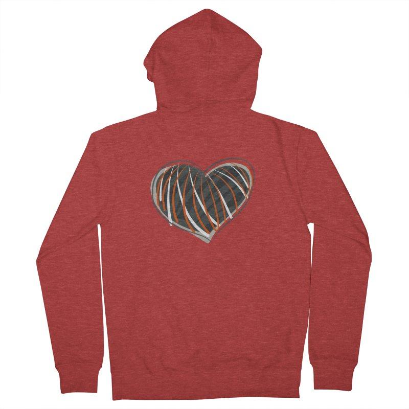 Striped Heart Men's French Terry Zip-Up Hoody by Michael Pfleghaar