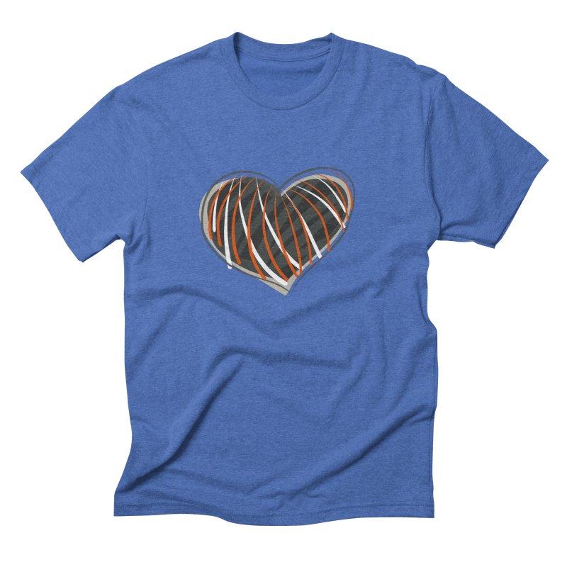 Striped Heart Men's Triblend T-Shirt by Michael Pfleghaar