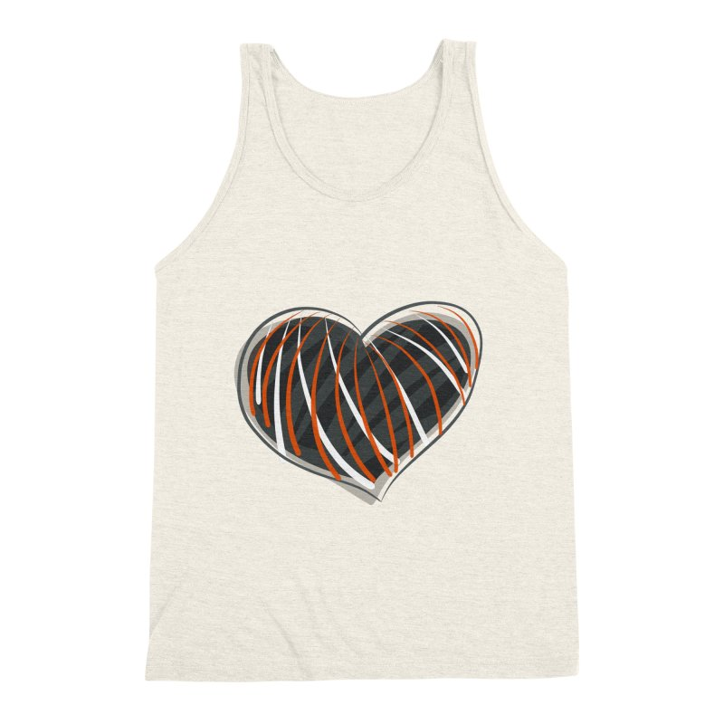 Striped Heart Men's Triblend Tank by Michael Pfleghaar
