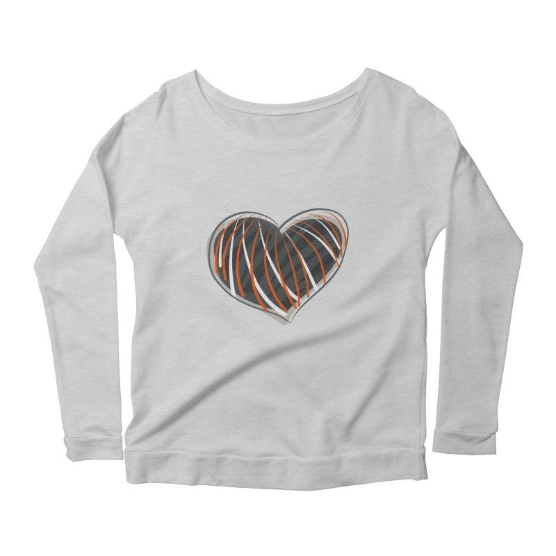 Striped Heart Women's Scoop Neck Longsleeve T-Shirt by Michael Pfleghaar
