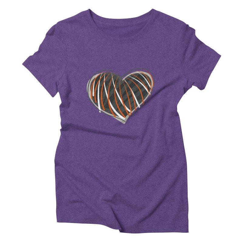 Striped Heart Women's Triblend T-Shirt by Michael Pfleghaar