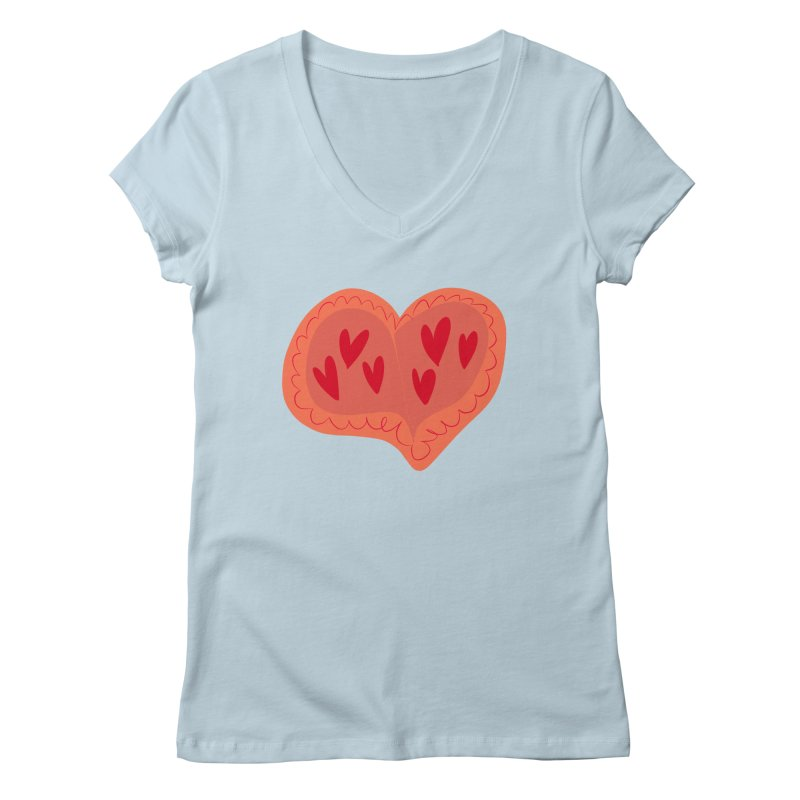 Heart of Hearts Women's Regular V-Neck by Michael Pfleghaar