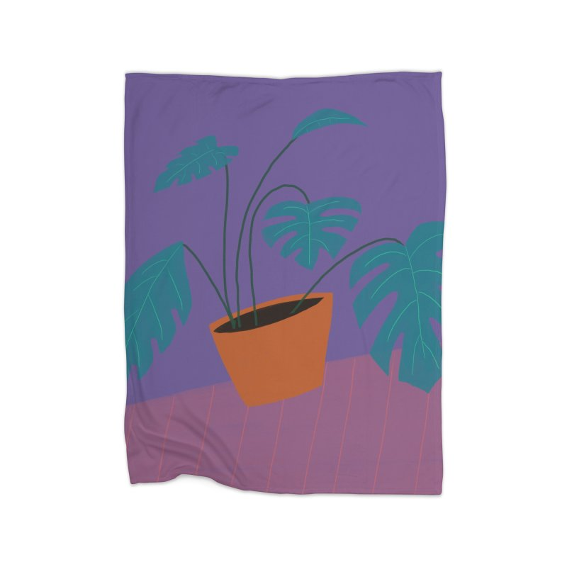 Ultra Violet Philodendron Home Blanket by Michael Pfleghaar