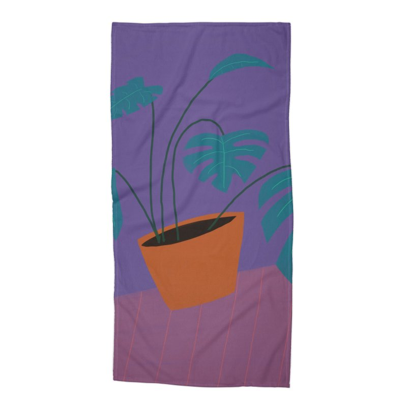 Ultra Violet Philodendron Accessories Beach Towel by Michael Pfleghaar