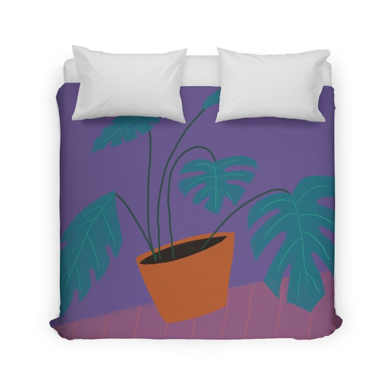 Ultra Violet Philodendron Home Duvet by Michael Pfleghaar