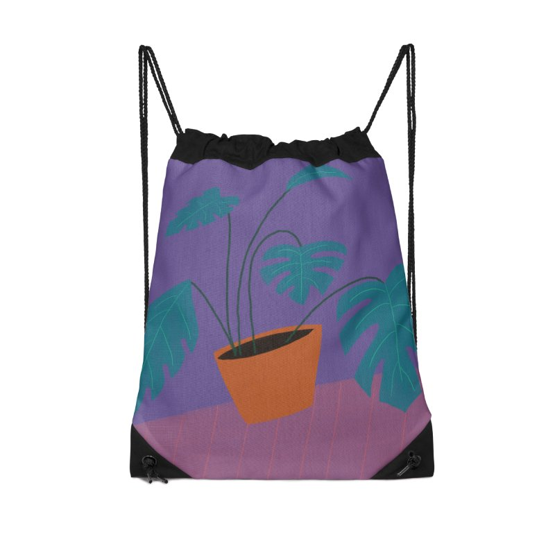 Ultra Violet Philodendron Accessories Drawstring Bag Bag by Michael Pfleghaar