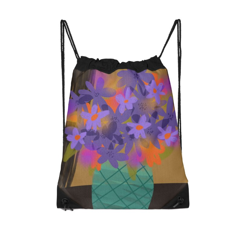 Ultra Violet Bouquet 1 Accessories Drawstring Bag Bag by Michael Pfleghaar
