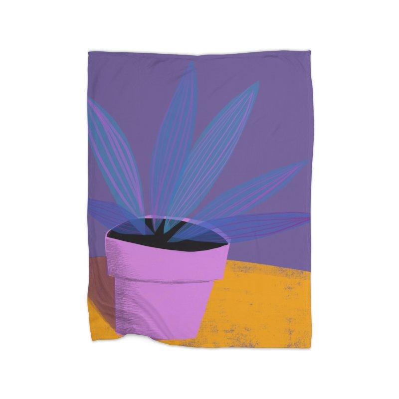 Ultra Violet Striped Plant 2 Home Blanket by Michael Pfleghaar