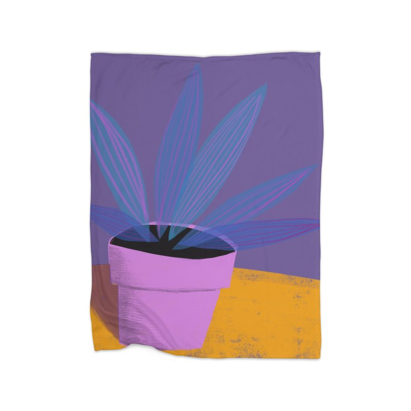 Ultra Violet Striped Plant 2 Home Blanket by Michael Pfleghaar