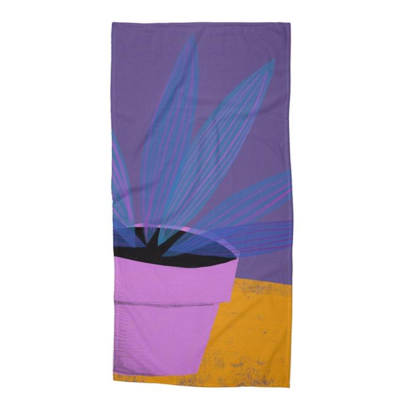 Ultra Violet Striped Plant 2 Accessories Beach Towel by Michael Pfleghaar