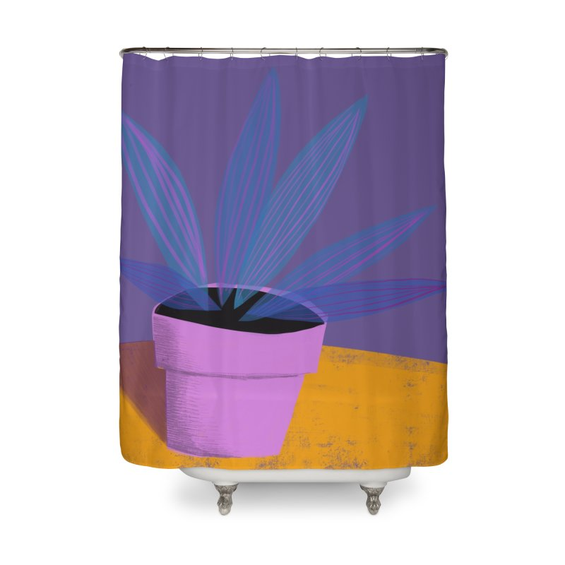 Ultra Violet Striped Plant 2 Home Shower Curtain by Michael Pfleghaar