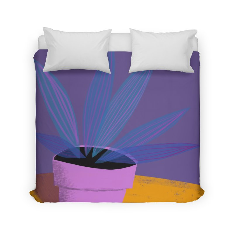 Ultra Violet Striped Plant 2 Home Duvet by Michael Pfleghaar