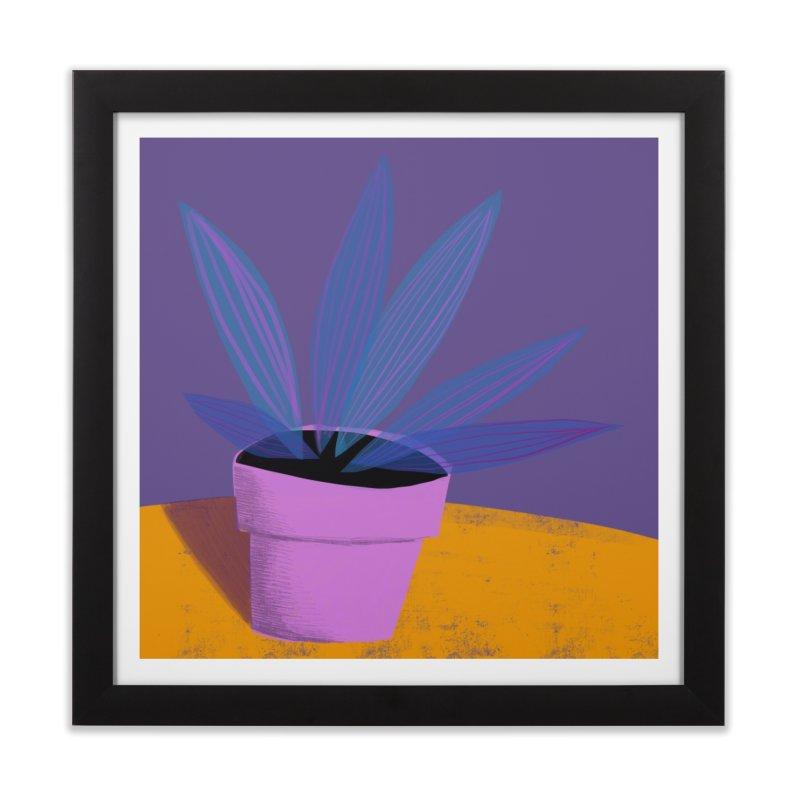 Ultra Violet Striped Plant 2 Home Framed Fine Art Print by Michael Pfleghaar