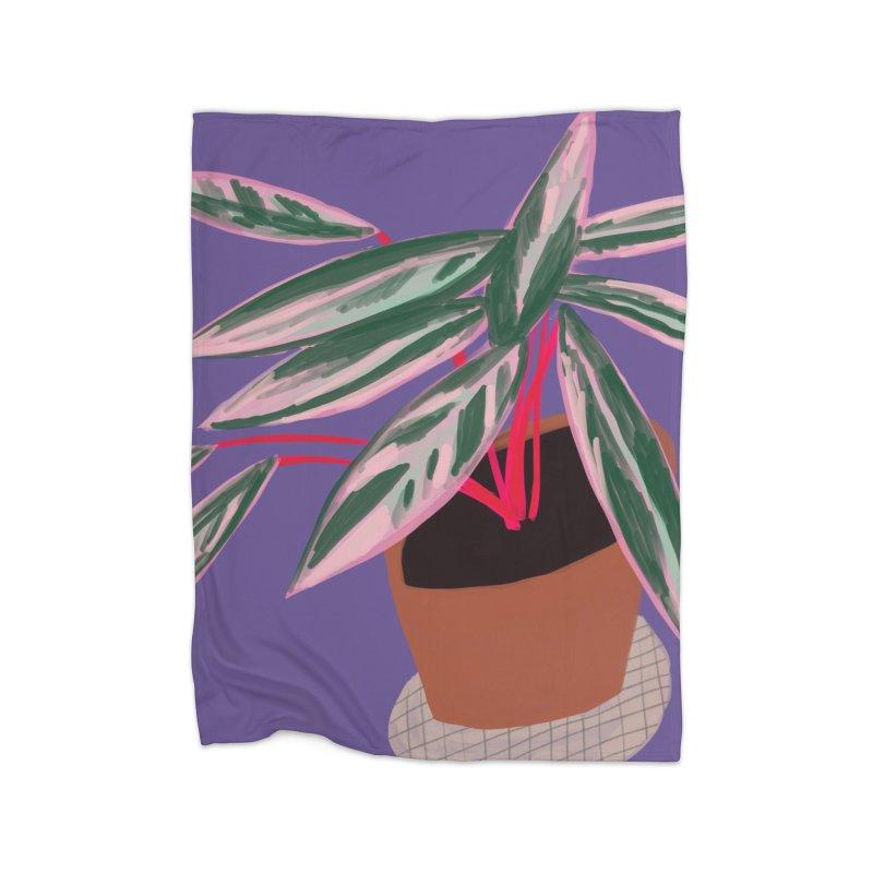 Ultra Violet Stromanthe Plant Home Blanket by Michael Pfleghaar