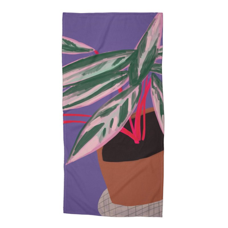 Ultra Violet Stromanthe Plant in Beach Towel by Michael Pfleghaar