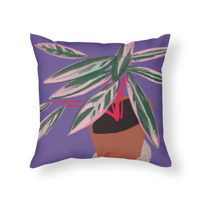 Ultra Violet Stromanthe Plant in Throw Pillow by Michael Pfleghaar