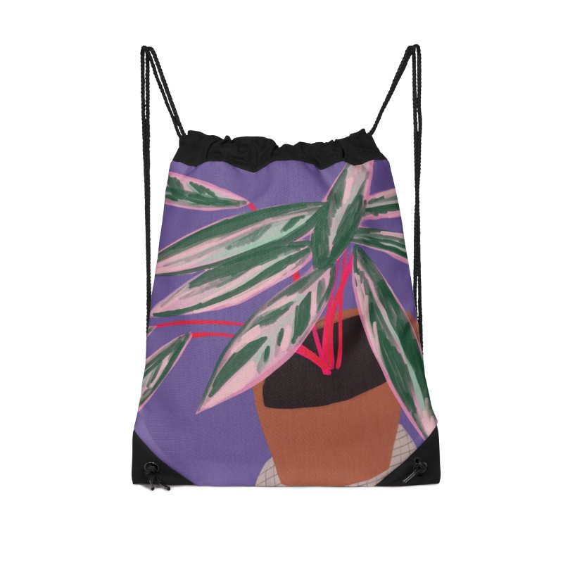 Ultra Violet Stromanthe Plant Accessories Drawstring Bag Bag by Michael Pfleghaar