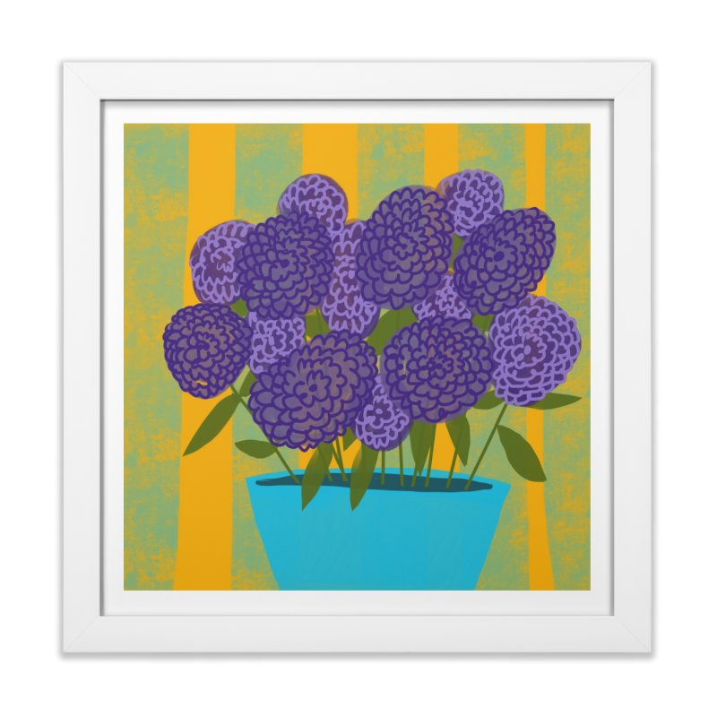Ultra Violet Bouquet #2 in Framed Fine Art Print White by Michael Pfleghaar