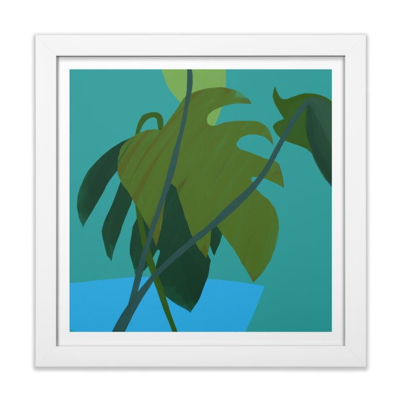 Philodendron Leaves in Framed Fine Art Print White by Michael Pfleghaar