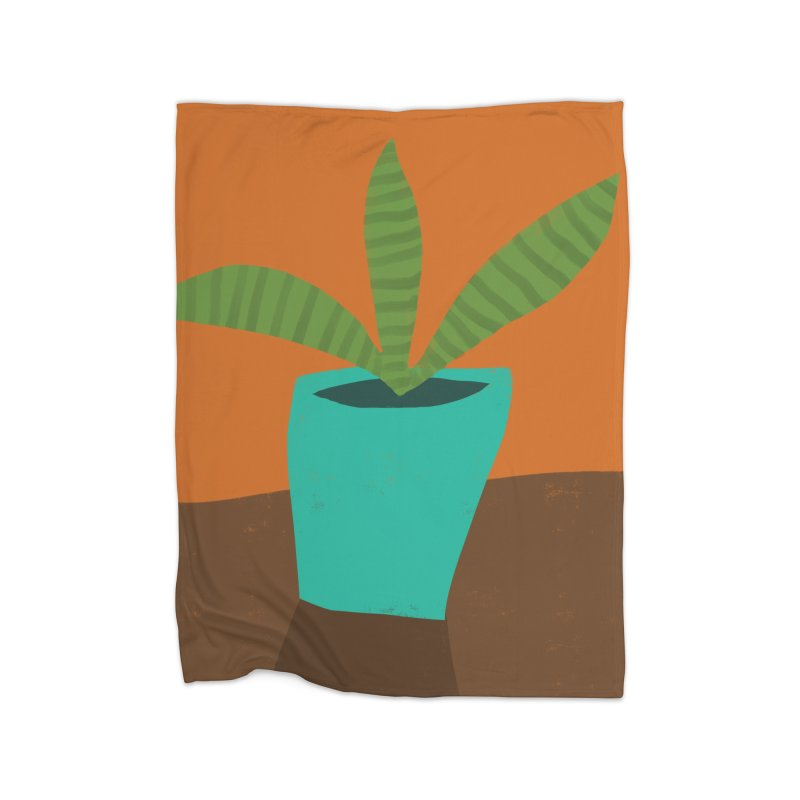 Striped Plant in Blue Pot Home Blanket by Michael Pfleghaar