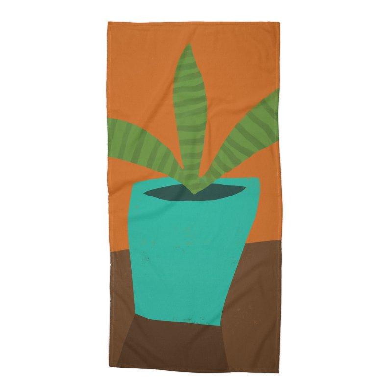 Striped Plant in Blue Pot Accessories Beach Towel by Michael Pfleghaar