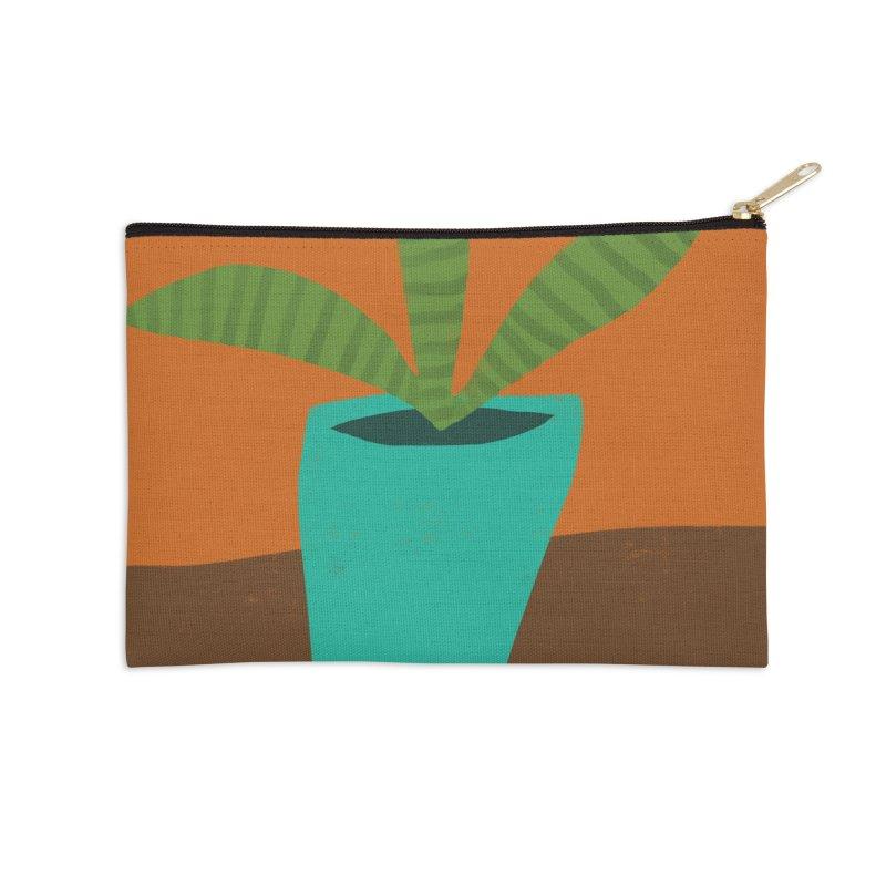 Striped Plant in Blue Pot Accessories Zip Pouch by Michael Pfleghaar