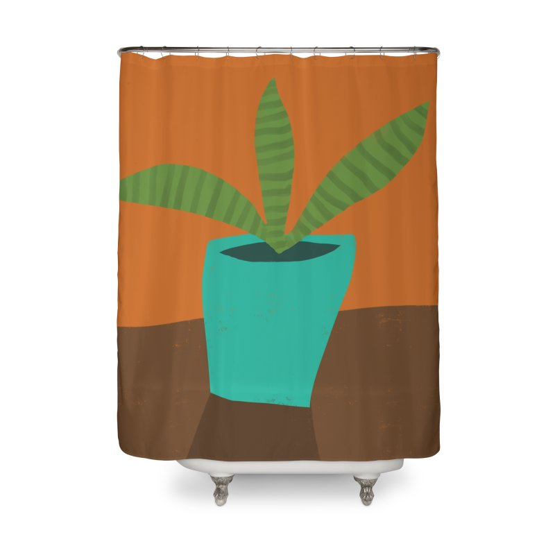 Striped Plant in Blue Pot Home Shower Curtain by Michael Pfleghaar