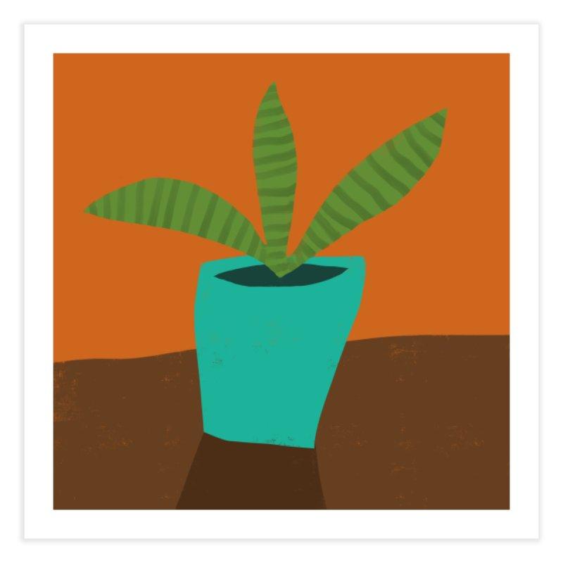 Striped Plant in Blue Pot Home Fine Art Print by Michael Pfleghaar