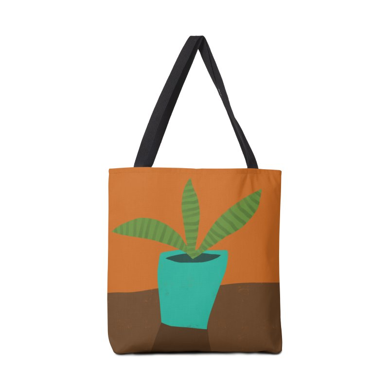 Striped Plant in Blue Pot Accessories Bag by Michael Pfleghaar
