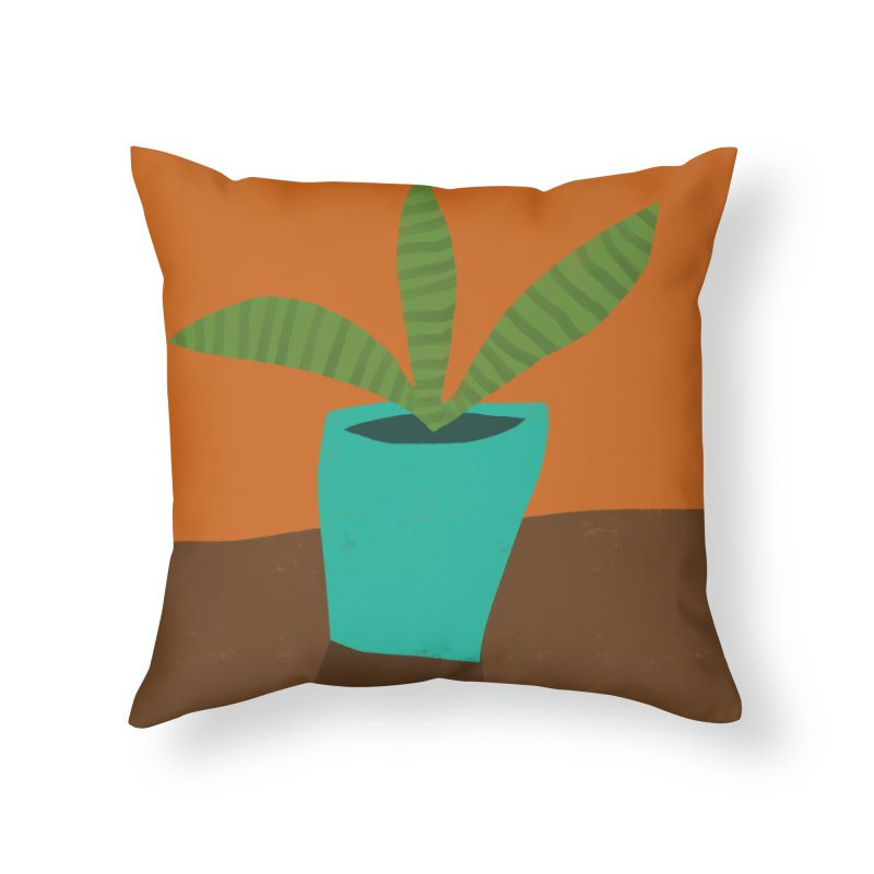 Striped Plant in Blue Pot Home Throw Pillow by Michael Pfleghaar