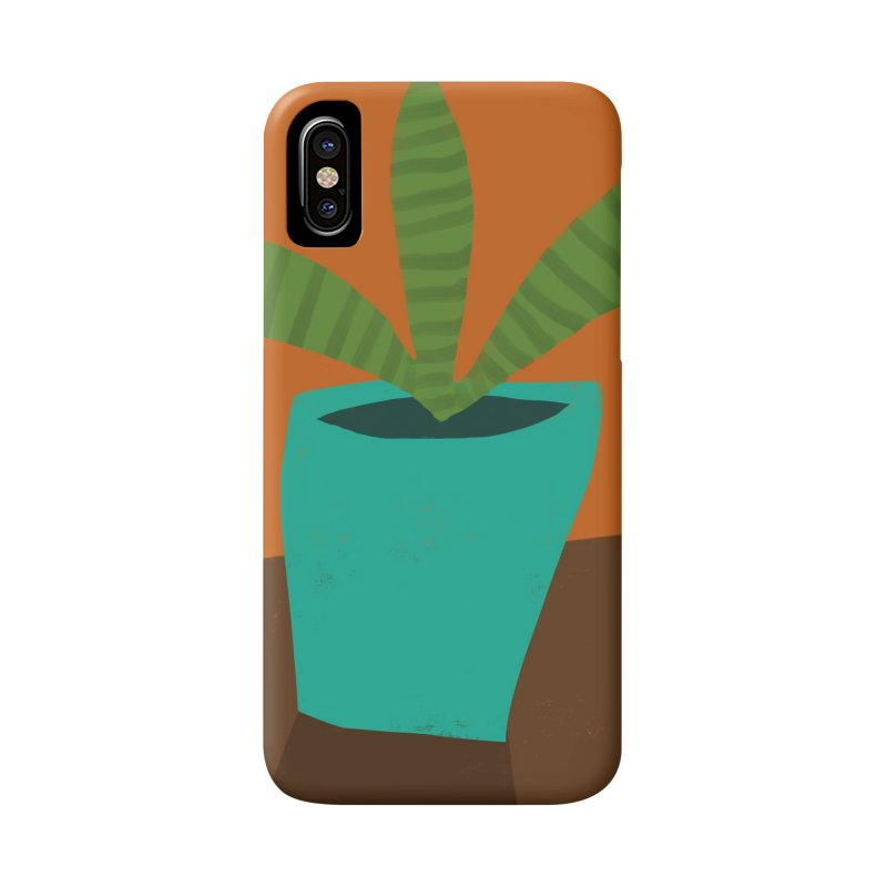 Striped Plant in Blue Pot Accessories Phone Case by Michael Pfleghaar