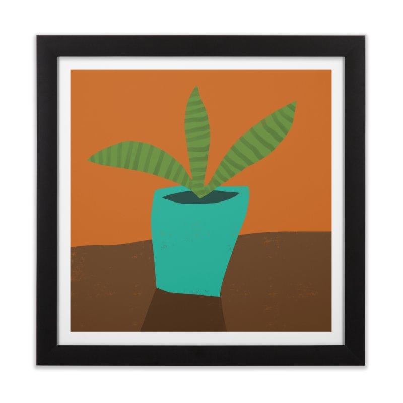 Striped Plant in Blue Pot Home Framed Fine Art Print by Michael Pfleghaar