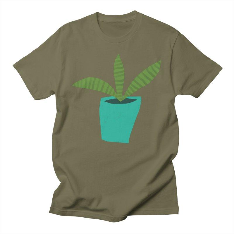 Striped Plant in Blue Pot Men's Regular T-Shirt by Michael Pfleghaar
