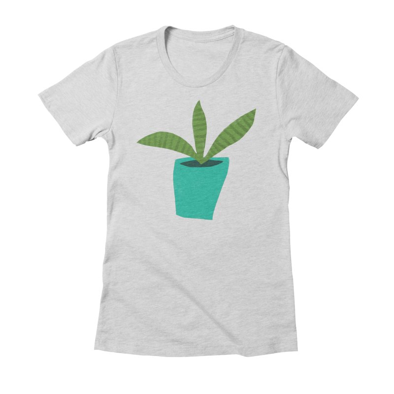 Striped Plant in Blue Pot Women's Fitted T-Shirt by Michael Pfleghaar