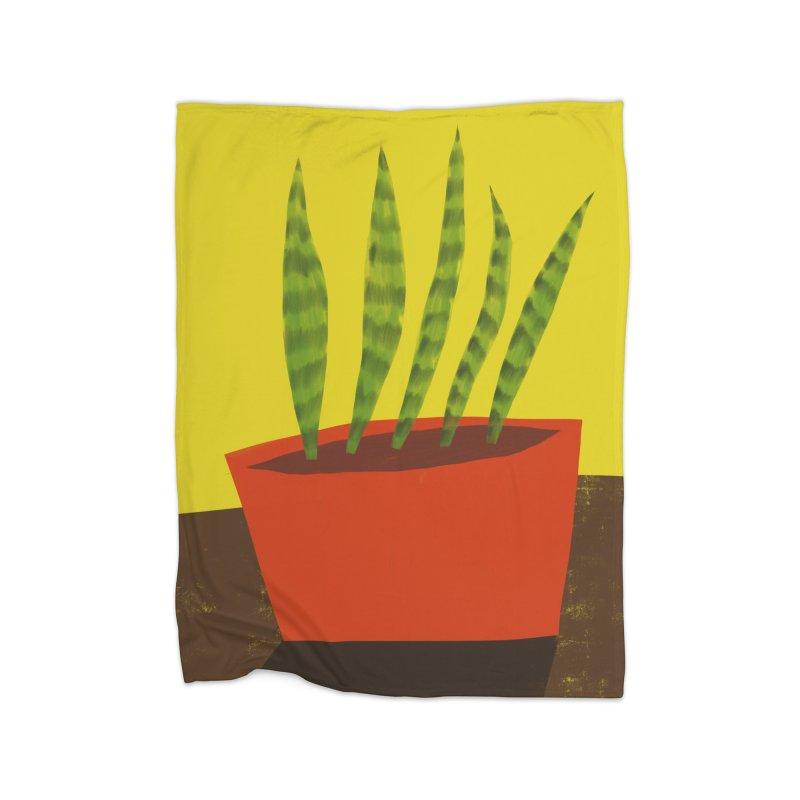 Snake Plant in Red Pot Home Blanket by Michael Pfleghaar